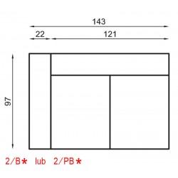 2/PB-Kanapa 2 z jednym bokiem i pojemnikiem IRYS